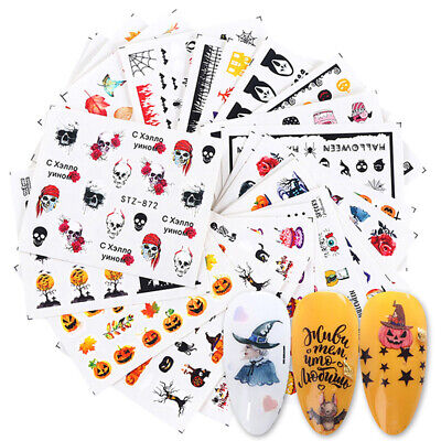 24pcs Halloween Nail Art Stickers DIY Water Skull Designs for Manicure Decals