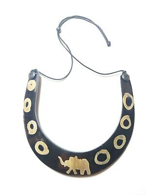 Banjara Tibetan Ethnic Horn Tribal Antique Gypsy Boho India Statement Necklace