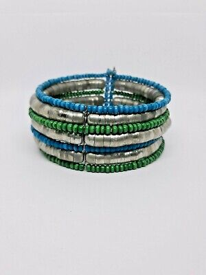 Vintage Beaded Cuff Bracelet Green Silver Blue- Hand Crafted