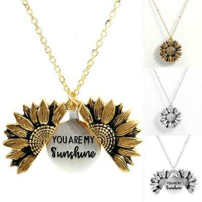 """""""You Are My Sunshine """"Open Locket Sunflower Pendant Necklace Women Gifts NEW"""