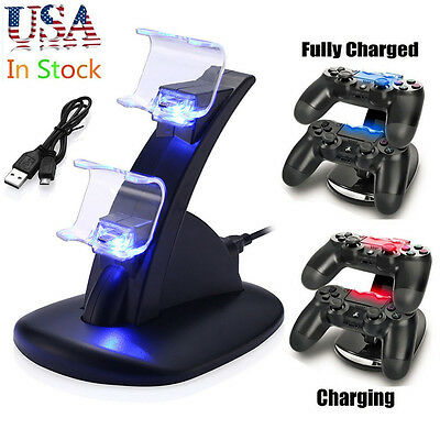 For PlayStation 4 PS4 Dual Controller LED Charger Dock Station USB Fast Charging