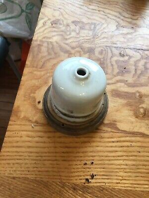 Original Ceramic Antique Light Fitting with wooden base