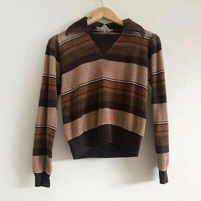 Vintage Brown Stripe Striped Velour 70s 80s Ribbed Long Sleeve Jumper Sweater