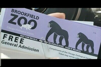 5 BROOKFIELD ZOO ADMISSION TICKETS - SHIPS FREE expires 12/31/19