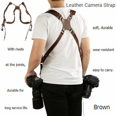 Dual Harness Camera Cross Shoulder Leather Multi Strap Quick Adjustable SLR/DSLR
