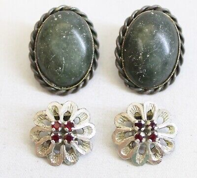 Vintage SET x2 Silber Ohrclips Italy 800 925 Schmucksteine Earrings g (X453)