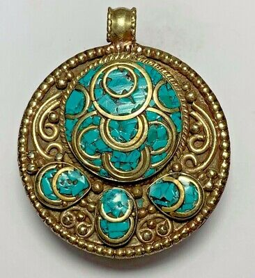 HUGE LATE MEDIEVAL SILVER PENDANT GREEN Coral Turtle VERY RARE 45.8gr 52.1mm