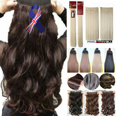 UK Real Thick Natural HAIR EXTENTION Long 5 Clip In Half Full Head One Piece New