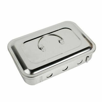 Dental Medical Instrument Stainless Steel Sterilizer Box Square Dish Lid Good