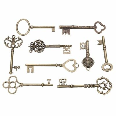 9pcs Antique Vintage Old Brass Skeleton Keys Lot Cabinet Pendant Decor Heart