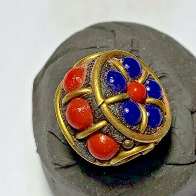 LATE MEDIEVAL SILVER BEAD GOLDPLATED - RARE STONES PENDANT 3.3gr 15.5mm