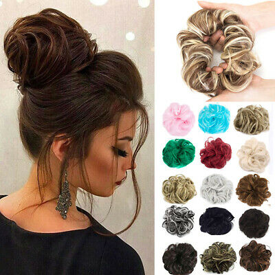 Natural Curly Donut Messy Bun Hair Piece Scrunchie Thick Hair Extension UK STOCK