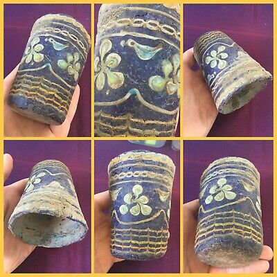 Very rare ancient large Phoenician blue glass cup 500 bc