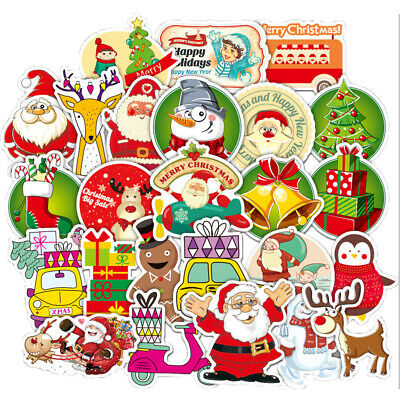 52 Gilding Christmas Stickers bomb Vinyl Skateboard Luggage Laptop Decals Dope