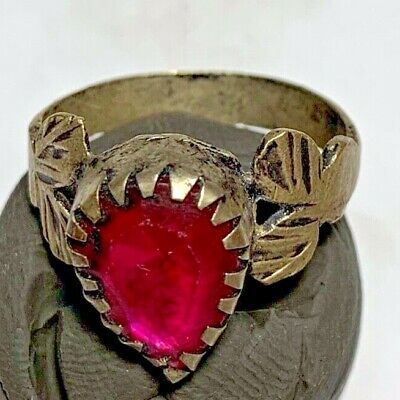 LATE MEDIEVAL SILVERED RING WITH RARE BRILLIANT STONE 2.8gr 25.5mm (in 19.3mm)