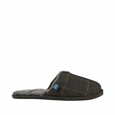 Joules FURLTON Mens Soft Warm Comfortable Fleece-Lined Mule Slippers Brown Tweed