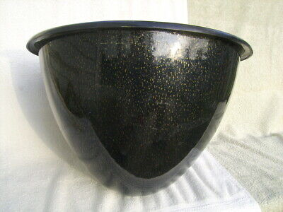 large mid century modern bullet planter only no stand plastic black gold flakes