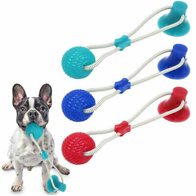 Pet Rubber Ball Toy With Suction Cup Dog Self-playing Durable Molar Chew Toys U~