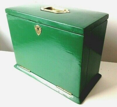 Late Victorian/Early 20th Century Green Lacquer Writing/Stationary Box
