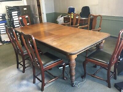 Large Antique Victorian Solid Oak Dining Meeting Table With 6 Mahogany Chairs