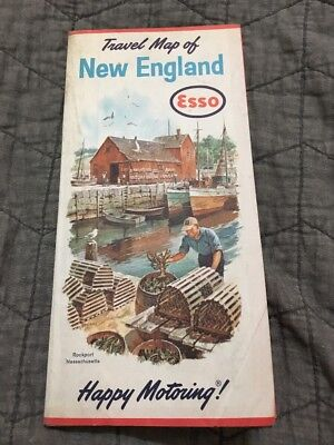 1963 ESSO HUMBLE OIL Road Map NEW ENGLAND Massachusetts Connecticut Maine Boston