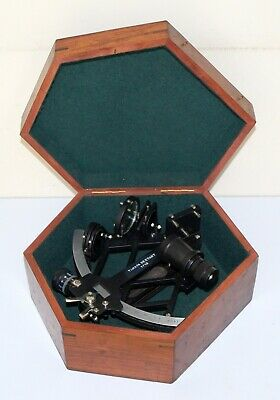 "Nautical brass sextant 8"" marine ship working instruments with wooden box gift"