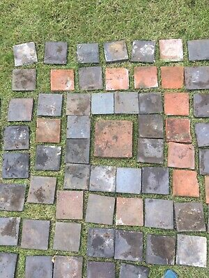 Reclaimed 6 inch vintage 1900's Red And Black terracotta quarry tiles 6x6