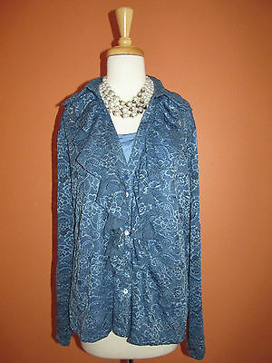 New Soft Surroundings Size XL Blue Lace Ruffled Placket Button Front Top
