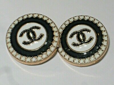 CHANEL 2 CC   WHITE BLACK  gold 20mm CC LOGO BUTTONS THIS IS FOR A SET OF TWO