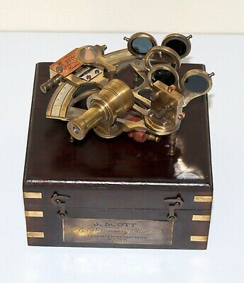"Nautical antique brass marine 4"" sextant astrolabe working with wooden box gift"