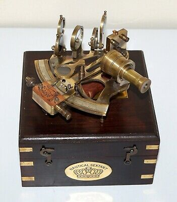 """Antique nautical brass marine j scott 4"""" sextant astrolabe with wooden box gift"""
