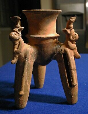 Pre-Columbian Costa Rican Tripod Rattle Chocolate Pot with Flute Players