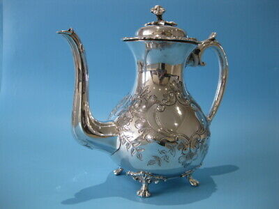 Beautiful Antique Silver Plated Highly Ornate Footed Baroque Style Coffee Pot