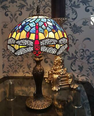 Dragonfly Tiffany Style Stained Glass Table Lamp ( Perfect Christmas Present )