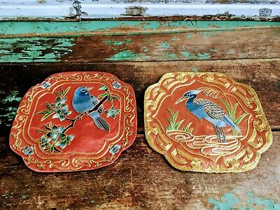 Antique Pair Of Chinese Silk Embroidery Panel Badges Birds Gold