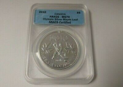 2010 Vancouver Olympics $5 Silver Maple Leaf .9999 - Hockey - ANACS-MS70