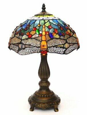 Multi Colour Hand Made Tiffany Style Stained Glass Table Lamp 12 Inches Wide
