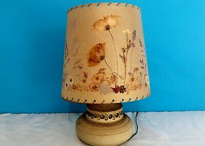 Vintage Jersey Pottery Table Lamp with Pressed Flower Shade 70s Boho Home