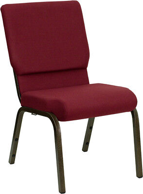 18.5'' Wide Burgundy Fabric Stacking Church Chair with Gold Vein Frame
