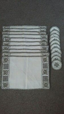 Set Of 10 Embroidered Lace/ Crochet Linen placemats And 10 matching coasters