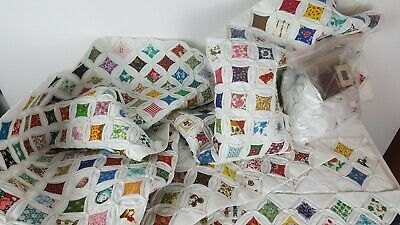 Lot of Cathedral Windows Quilt Squares Blocks Unfinished Vintage Fabric HandSewn