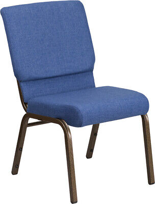 18.5'' Wide Blue Fabric Stacking Church Chair with Gold Vein Frame