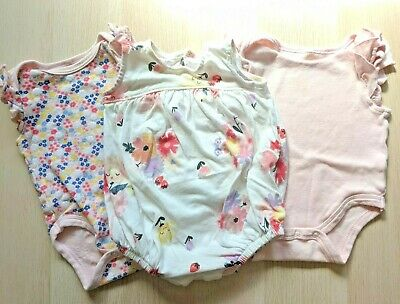 Lot of 3 Chick Pea Old Navy Baby Girl 3-6 Months Romper Bodysuit Pink Floral