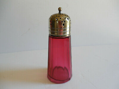 Antique Victorian Red Cranberry Glass Sugar Shaker Muffineer