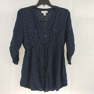 Motherhood Maternity Navy Blue Polka Dot Size XL Blouse Tunic Roll Tab Sleeves