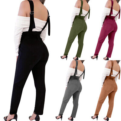 Women Bib Overall Denim Dungarees Ladies High Waist Overall Jeans Jumpsuit Pants
