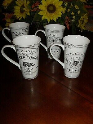 222 Fifth Hallow Apothecary Set/4 Latte Coffee Cups Mugs Halloween