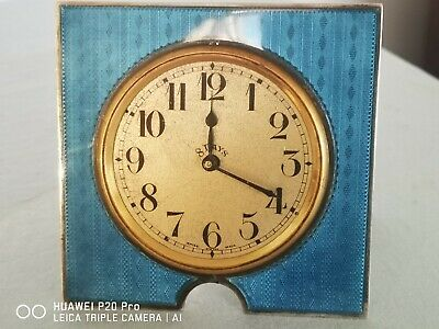 Swiss Lever escapement 8 day Guilloche Enamel Silver Bedside Clock