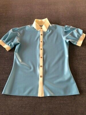 Pure 0.4mm Latex Short Slevees Light Blue and White Top Size S-XXL