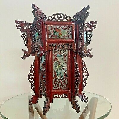 Chinese Palace Lantern - Wood & Painted Glass